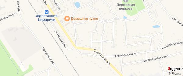 Советский переулок на карте поселка Комаричей с номерами домов