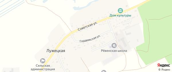 Гордеевская улица на карте Лужецкой деревни с номерами домов