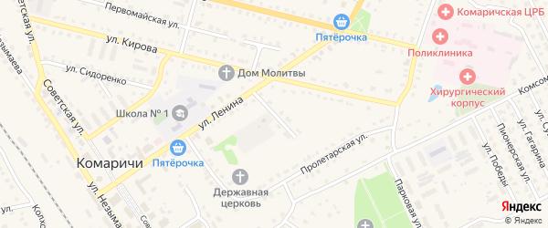 Переулок 2-й Ленина на карте поселка Комаричей с номерами домов