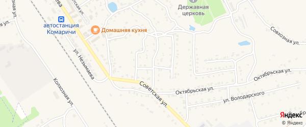 1-й Октябрьский переулок на карте поселка Комаричей с номерами домов
