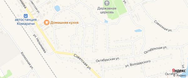 Комсомольский переулок на карте поселка Комаричей с номерами домов