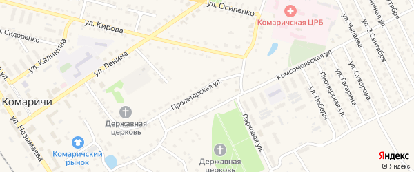 Пролетарская улица на карте поселка Комаричей с номерами домов