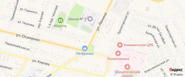 Улица Ленина на карте поселка Комаричей с номерами домов