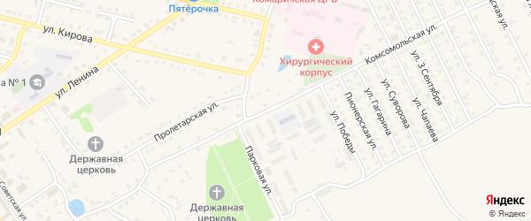 Комсомольская улица на карте поселка Комаричей с номерами домов