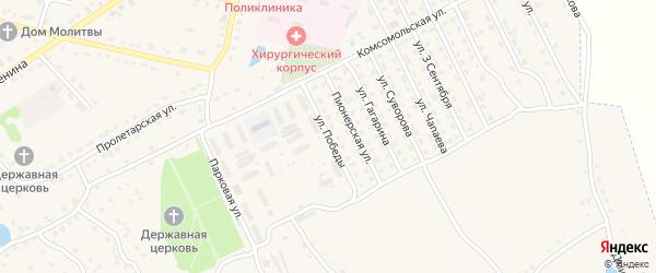 Улица Победы на карте поселка Комаричей с номерами домов
