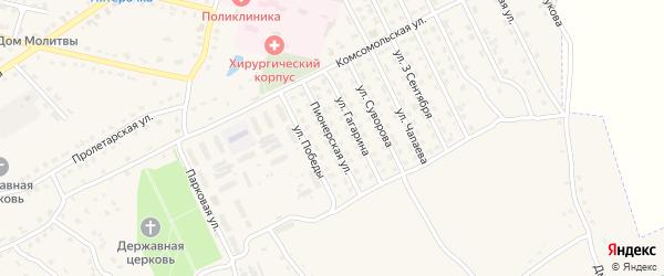 Пионерская улица на карте поселка Комаричей с номерами домов