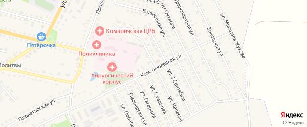 Улица Чапаева на карте поселка Комаричей с номерами домов