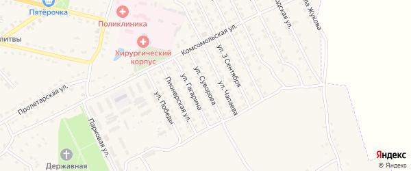 Улица Суворова на карте поселка Комаричей с номерами домов