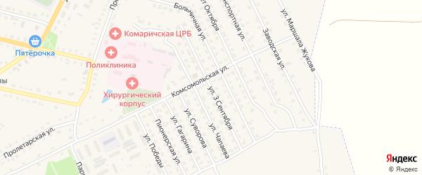 Улица 3 Сентября на карте поселка Комаричей с номерами домов