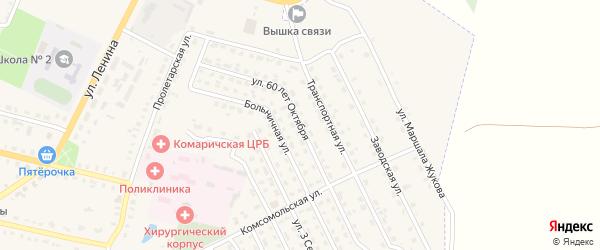 Улица 60 лет Октября на карте поселка Комаричей с номерами домов
