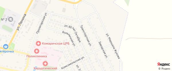 Транспортная улица на карте поселка Комаричей с номерами домов