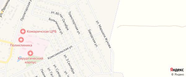 Заводская улица на карте поселка Комаричей с номерами домов