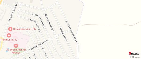 Улица Маршала Жукова на карте поселка Комаричей с номерами домов