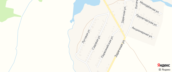 Луговая улица на карте поселка Лопандино с номерами домов