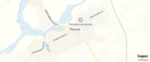Карта села Литижа в Брянской области с улицами и номерами домов