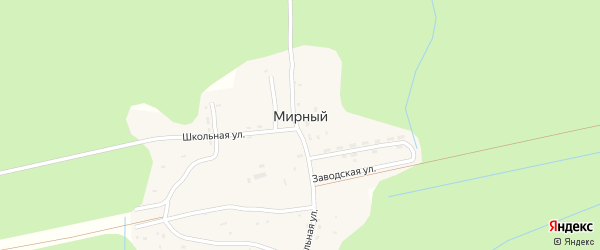 Центральная улица на карте Мирного поселка с номерами домов