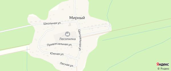 Заводская улица на карте Мирного поселка с номерами домов