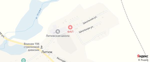 Школьная улица на карте села Литижа с номерами домов