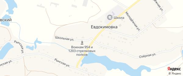 Школьная улица на карте села Евдокимовки с номерами домов