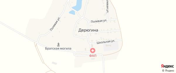 Центральная улица на карте деревни Дерюгина с номерами домов