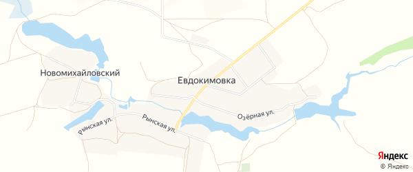 Карта села Евдокимовки в Брянской области с улицами и номерами домов