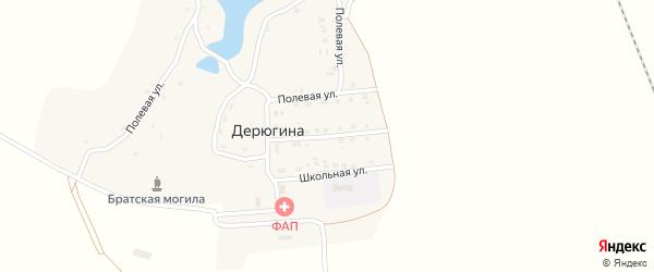 Молодежная улица на карте деревни Дерюгина с номерами домов