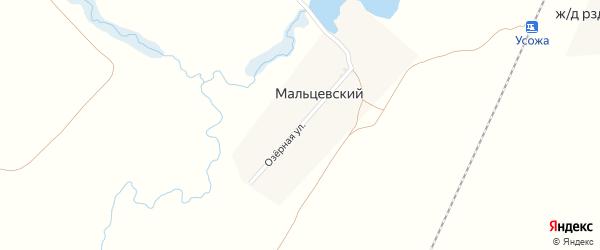 Озерная улица на карте Мальцевского поселка с номерами домов