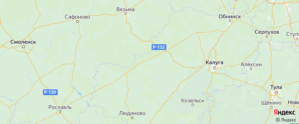 Карта Мосальского района Калужской области с населенными пунктами и городами