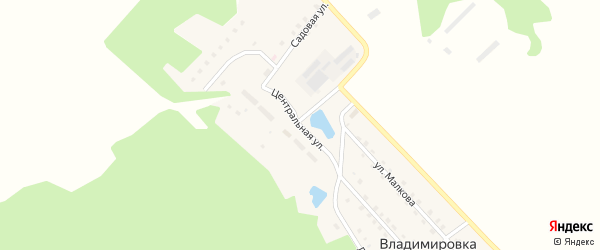 Центральная улица на карте поселка Владимировки с номерами домов