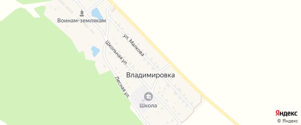 Улица Имени Малкова на карте поселка Владимировки с номерами домов