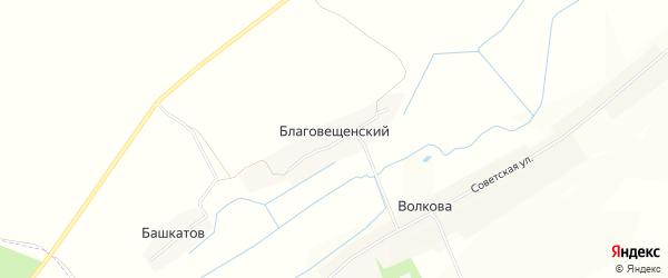 Карта Благовещенского поселка в Брянской области с улицами и номерами домов