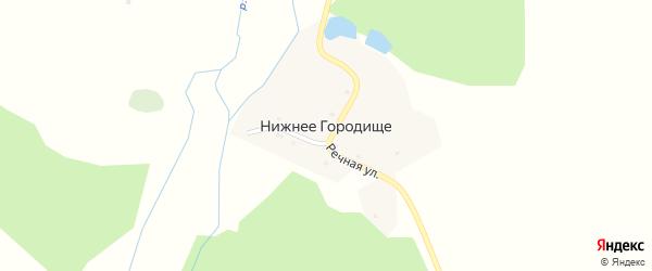 Речная улица на карте поселка Нижнего Городища с номерами домов