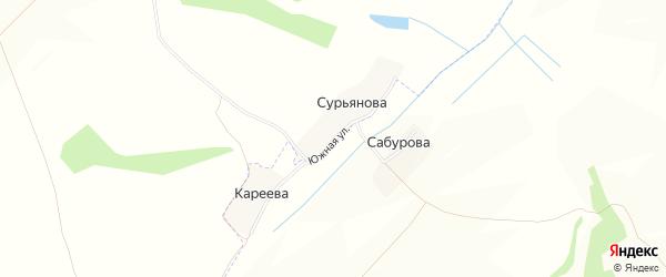 Карта деревни Сурьянова в Брянской области с улицами и номерами домов