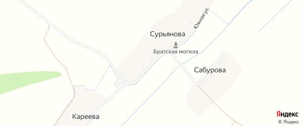 Полевая улица на карте деревни Сурьянова с номерами домов