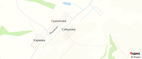 Карта деревни Сабурова в Брянской области с улицами и номерами домов