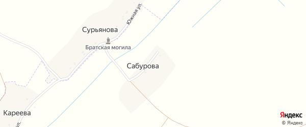 Луговая улица на карте деревни Сабурова с номерами домов