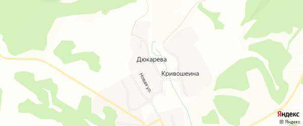 Карта деревни Дюкарева в Брянской области с улицами и номерами домов