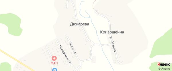 Комсомольская улица на карте деревни Дюкарева с номерами домов