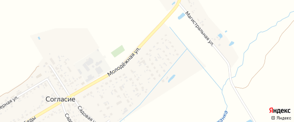 Молодежная улица на карте поселка Согласия с номерами домов