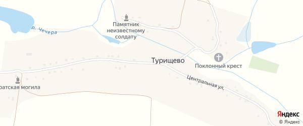 Центральная улица на карте села Турищево с номерами домов