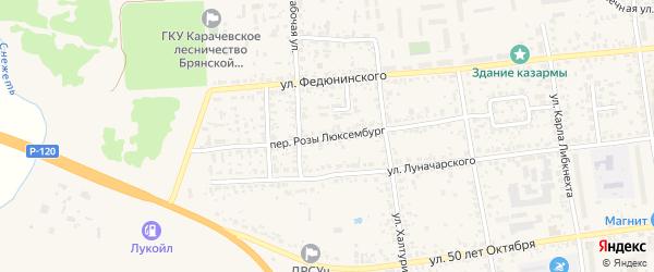 Переулок Розы Люксембург на карте Карачева с номерами домов