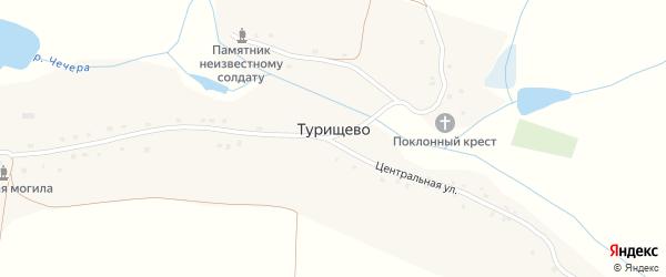 Заречная улица на карте села Турищево с номерами домов