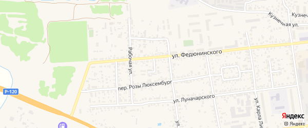 Переулок Федюнинского на карте Карачева с номерами домов