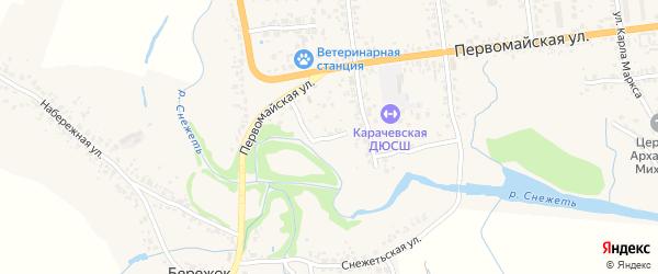 Первомайский проезд на карте Карачева с номерами домов