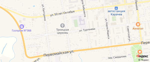 Улица Тургенева на карте Карачева с номерами домов