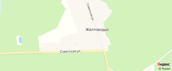 Советская улица на карте деревни Желтоводья с номерами домов