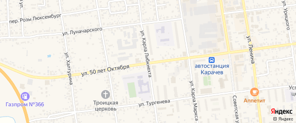Улица Карла Либкнехта на карте Карачева с номерами домов