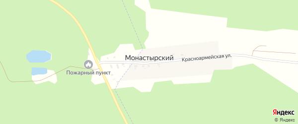 Красноармейская улица на карте Монастырского поселка с номерами домов