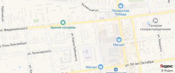 Переулок Меховницкого на карте Карачева с номерами домов