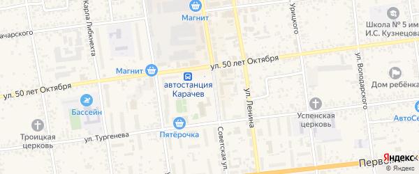 Территория сдт Работников администрации района на карте Карачева с номерами домов